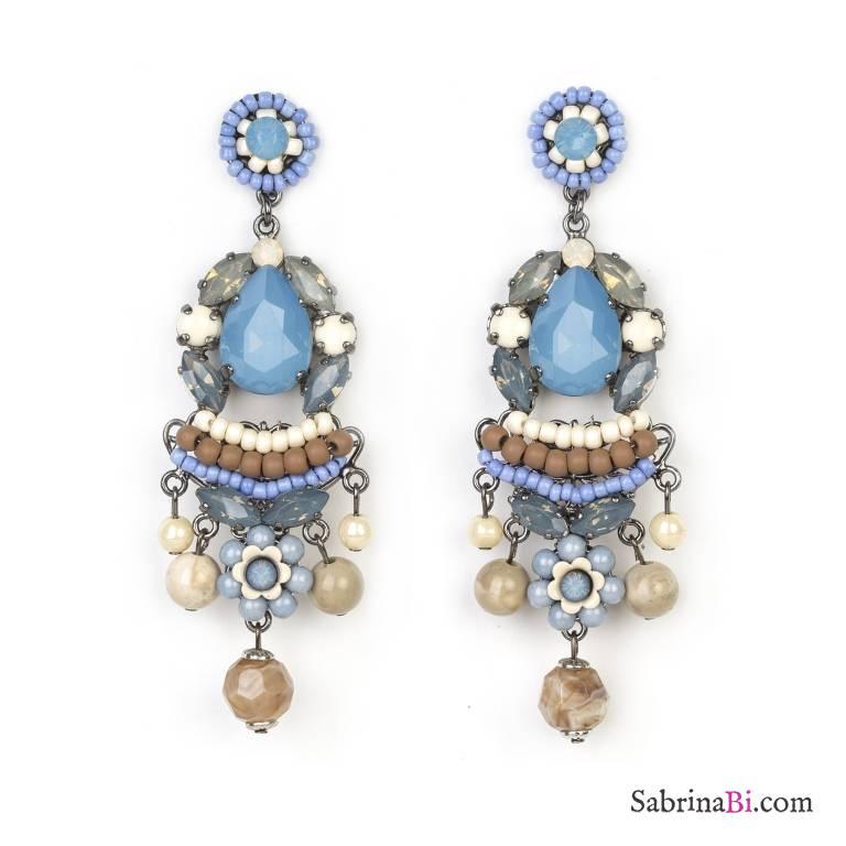 Orecchini pendenti azzurri chandelier con pietra di vetro for Orecchini con pietre dure fai da te