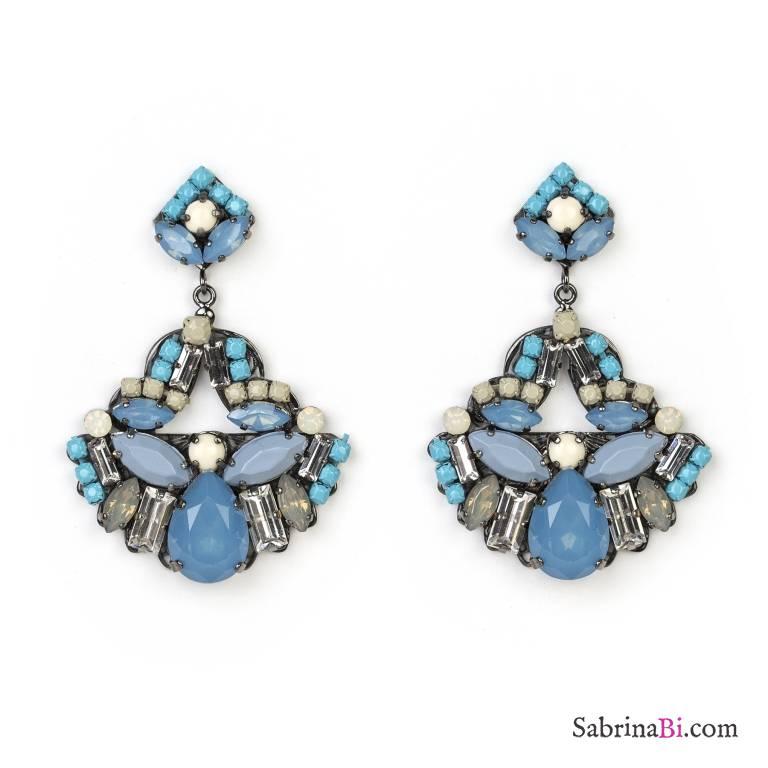 Orecchini pendenti Chandelier azzurri con cristalli