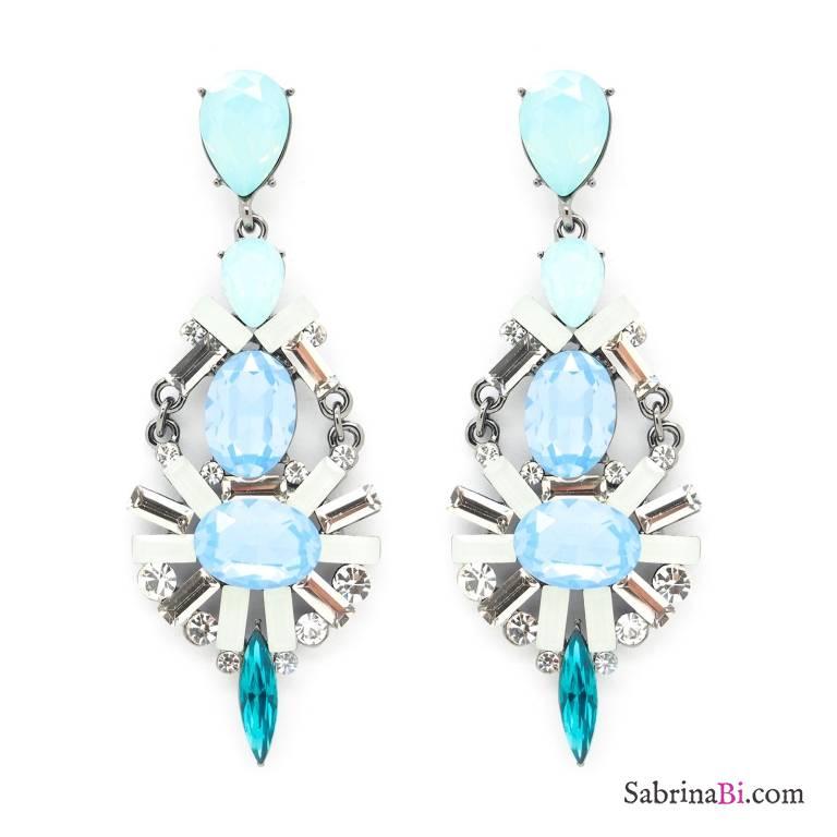 Orecchini pendenti Chandelier cristalli blu