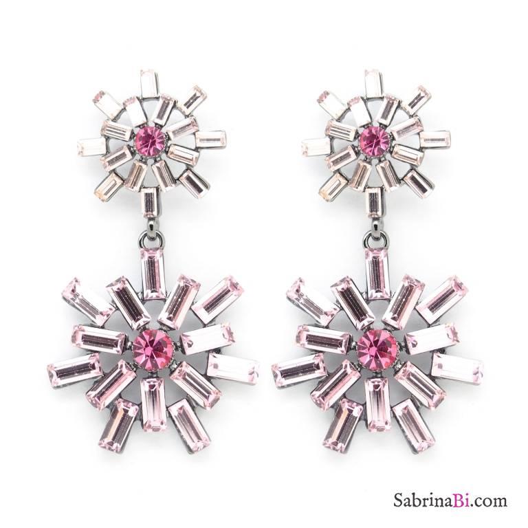 Orecchini pendenti fiocco neve cristalli Swarovski rosa