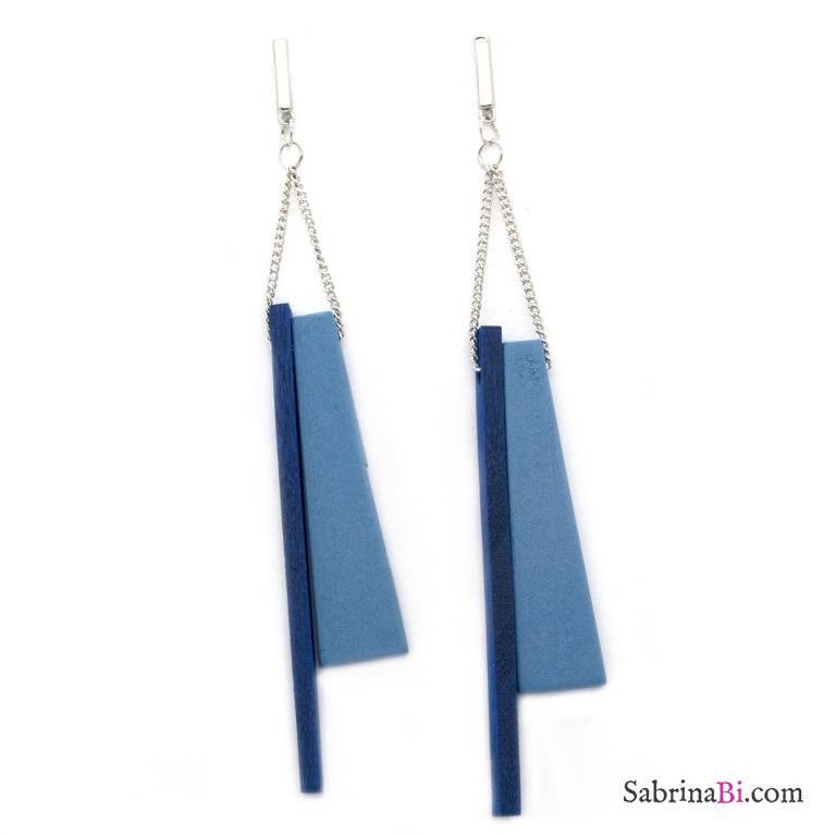 Orecchini pendenti legno blu