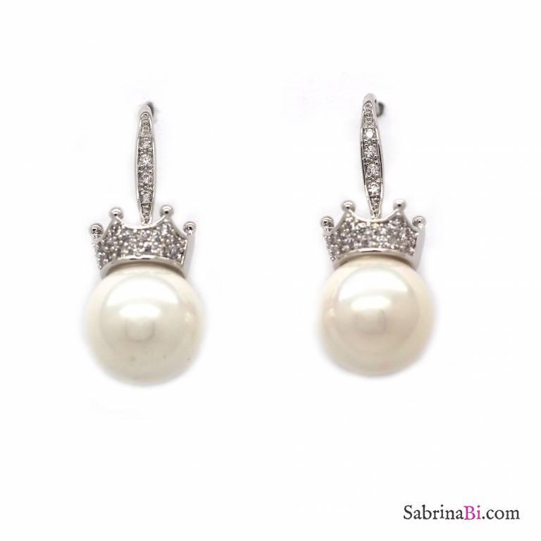 Orecchini pendenti perla e corona cristalli Swarovski