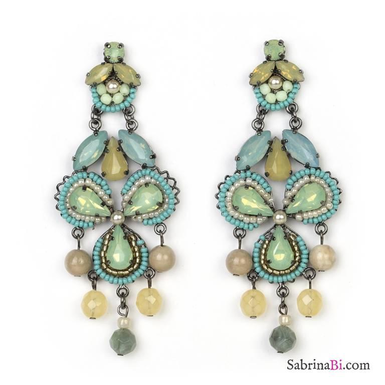 Amato Orecchini pendenti verdi Chandelier con trifoglio di perline  AT32