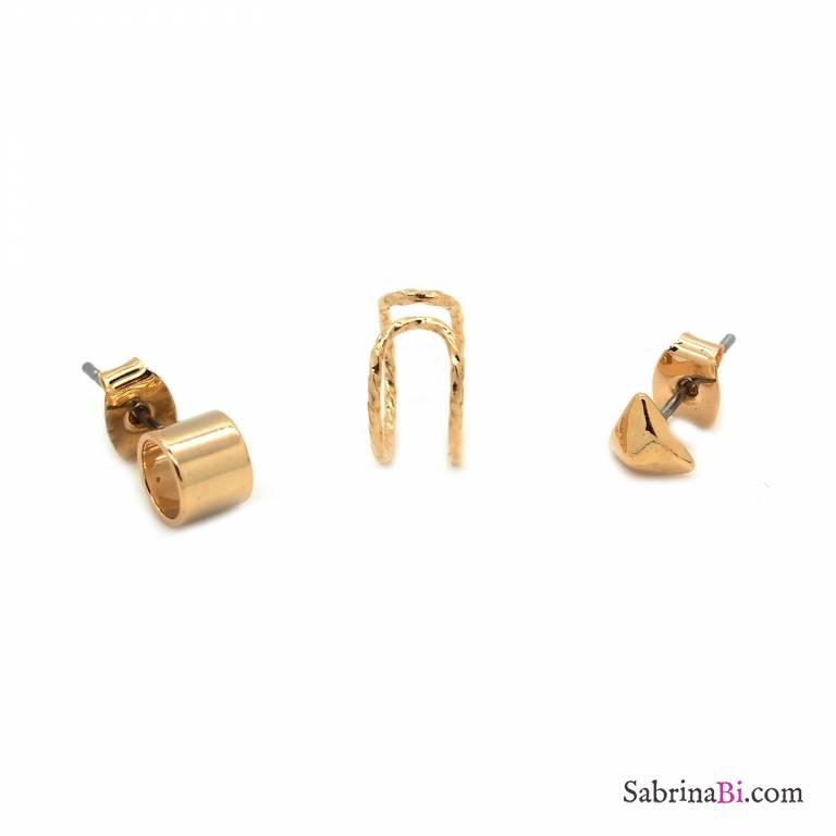Set da 3 orecchini placcati oro
