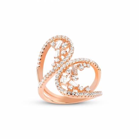 Anello argento 925 oro rosa Ali brillanti