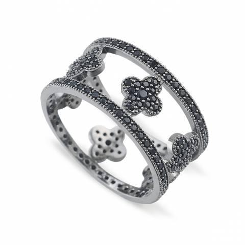 Anello argento 925 rodiato nero Quadrifoglio brillanti neri Tg. 56