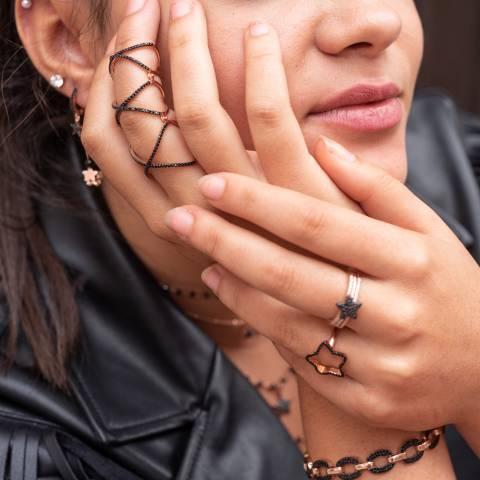 Anello armatura argento 925 oro rosa brillanti neri tg.18