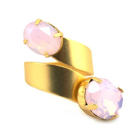 Anello banda regolabile oro cristalli rosa opalescenti