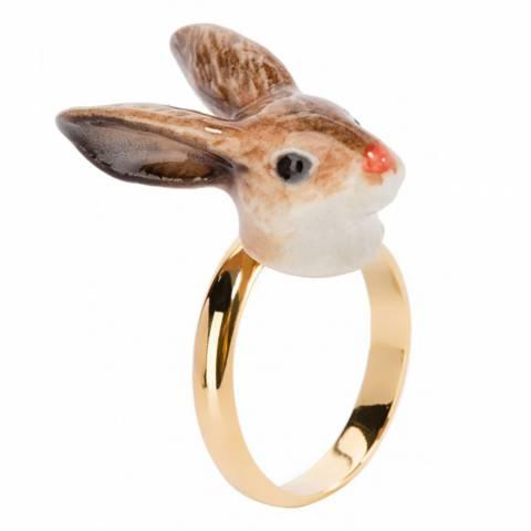 Anello regolabile in porcellana placcato oro Coniglio Marrone
