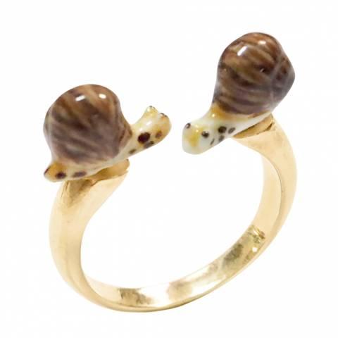 Anello regolabile in porcellana placcato oro Lumaca