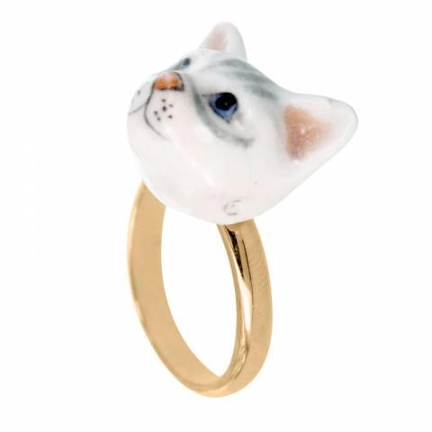 Anello regolabile in porcellana placcato oro testa di Gatto