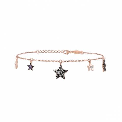 Bracciale argento 925 oro rosa ciondoli charms Stelle brillanti
