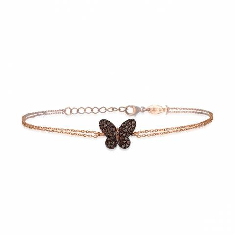 Bracciale argento 925 oro rosa Farfalla brillanti bronzo