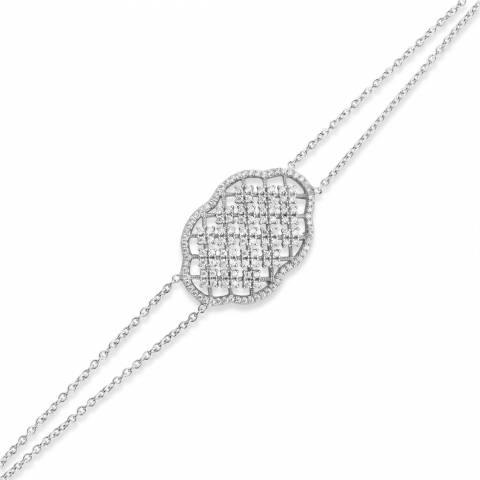 Bracciale argento 925 piastrina stondata lavorata brillanti