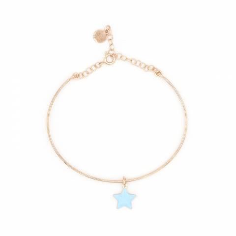 Bracciale bangle semirigido argento 925 oro rosa ciondolo stella azzurra