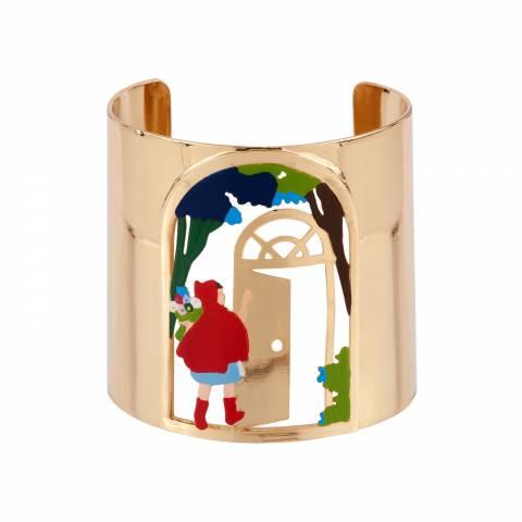 Bracciale rigido bangle alto oro Cappuccetto Rosso