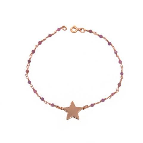 Bracciale rosario argento 925 oro rosa quarzo rosa e stella