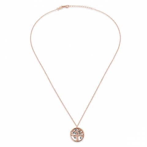 Collana corta argento 925 oro rosa Albero della Vita turchesi