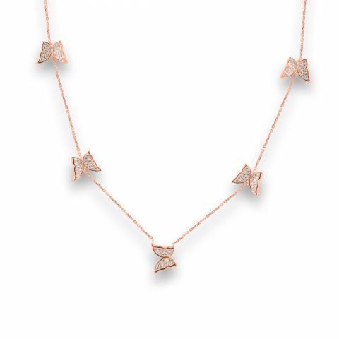 Collana girocollo argento 925 oro rosa ciondoli 5 Farfalle