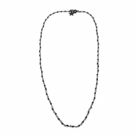 Collana girocollo argento 925 rodiato catena rosario cristalli neri 1mm