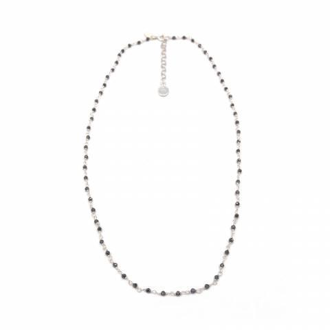 Collana girocollo catena rosario argento 925 cristalli grigi Madonna