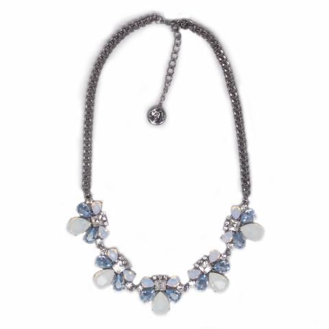 Collana girocollo cristalli rosa, azzurri e bianchi opalescenti