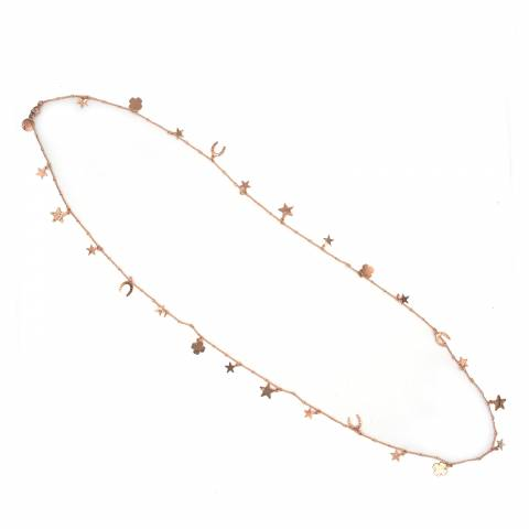 Collana lunga oro rosa Good Luck charms portafortuna