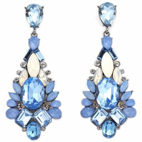 Orecchini Chandelier a goccia cristalli Swarovski azzurri