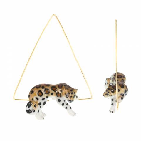 Orecchini creole triangolari oro Leopardo sdraiato porcellana