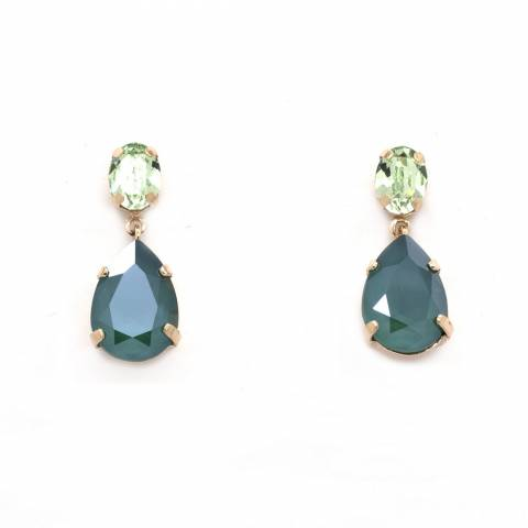 Orecchini pendenti argento 925 cristalli Swarovski verdi a goccia