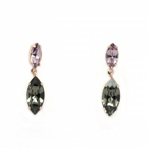 Orecchini pendenti argento 925 oro rosa cristalli Swarovski rosa/grigi