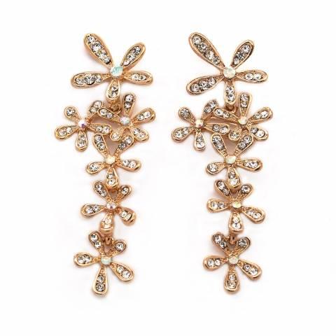 Orecchini pendenti Chandelier cascata di fiori cristalli ...