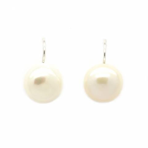 Orecchini pendenti corti perla bianca