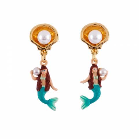 Orecchini pendenti corti Sirenetta, conchiglia e perla
