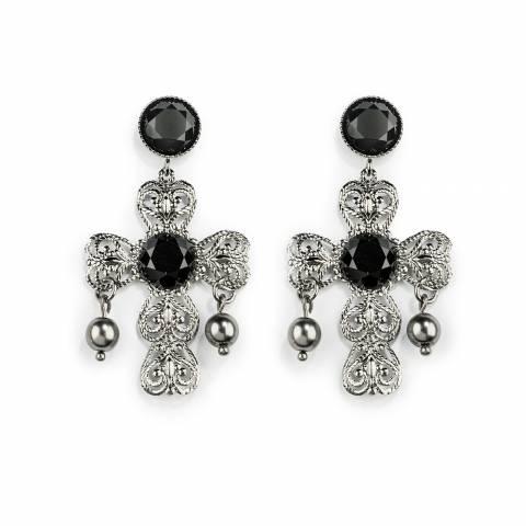 Orecchini pendenti oro nero Pearl Baroque con croce e perle grigie