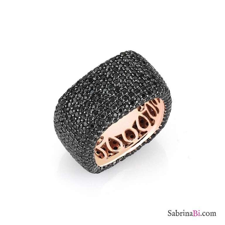 Anello fascia quadrato argento 925 oro rosa pavè brillanti neri