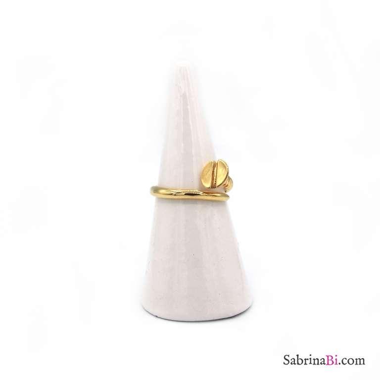 Anello open argento 925 bagno oro chiodo