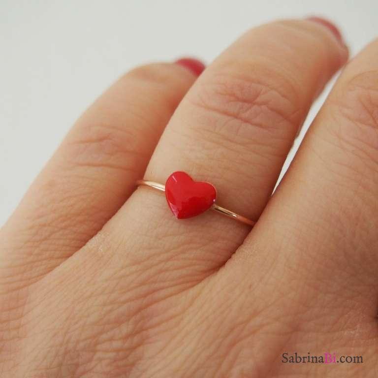 Anello regolabile argento 925 oro rosa cuore rosso