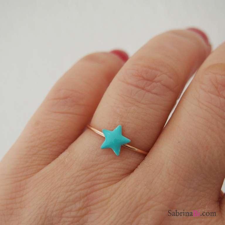 Anello regolabile argento 925 oro rosa stella verde Tiffany