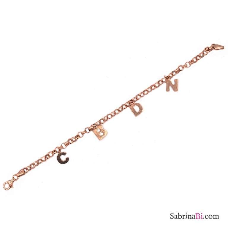 Bracciale argento 925 oro rosa 4 lettere personalizzate nome