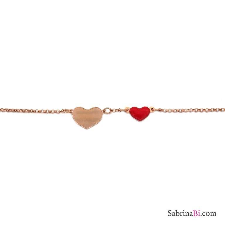 Bracciale argento 925 oro rosa Due cuori