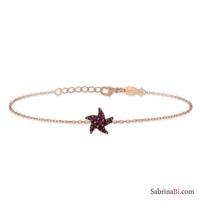 Bracciale argento 925 oro rosa Stella Marina brillanti rossi