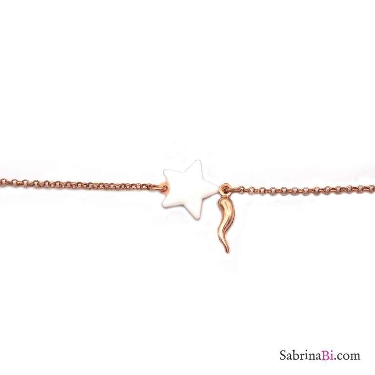 Bracciale argento 925 oro rosa stella smalto bianca e cornetto