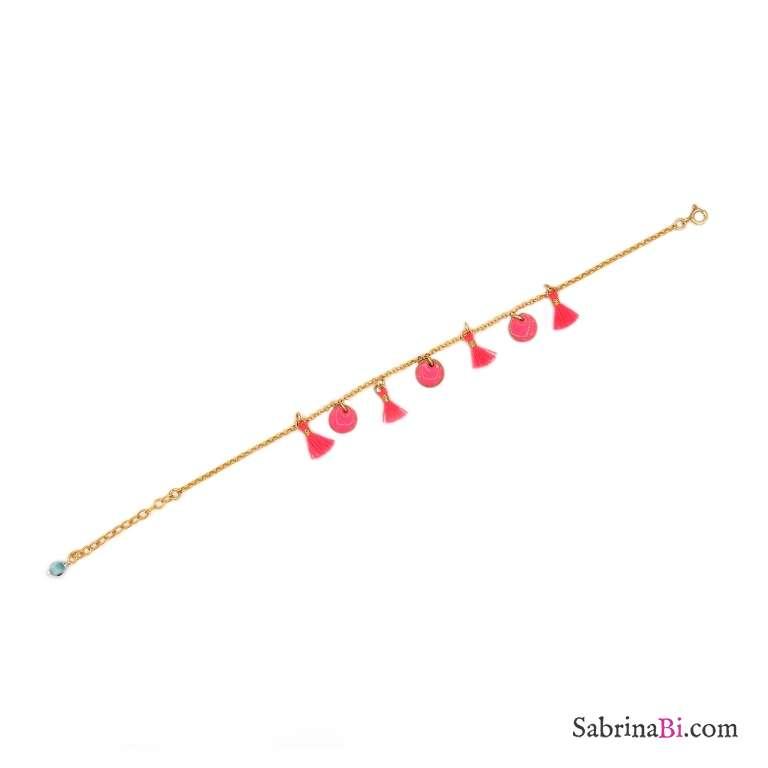 Bracciale argento 925 placcato oro nappine rosa