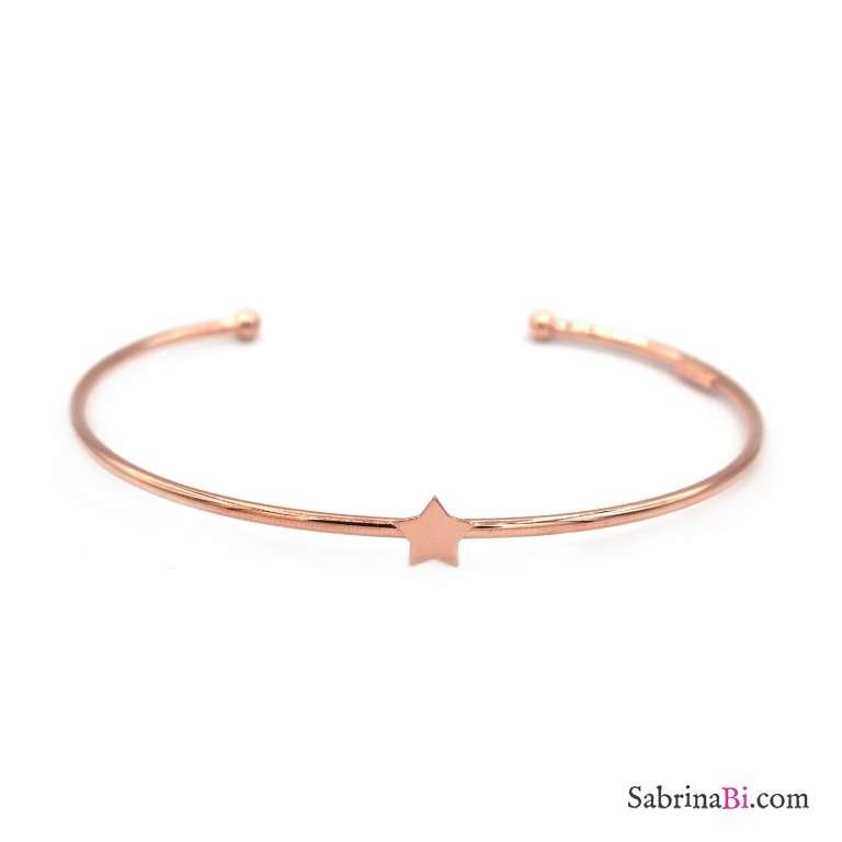 Bracciale bangle filo semirigido argento 925 oro rosa stella centrale