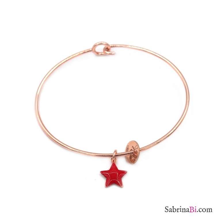 Bracciale bangle semirigido argento 925 oro rosa stella rossa