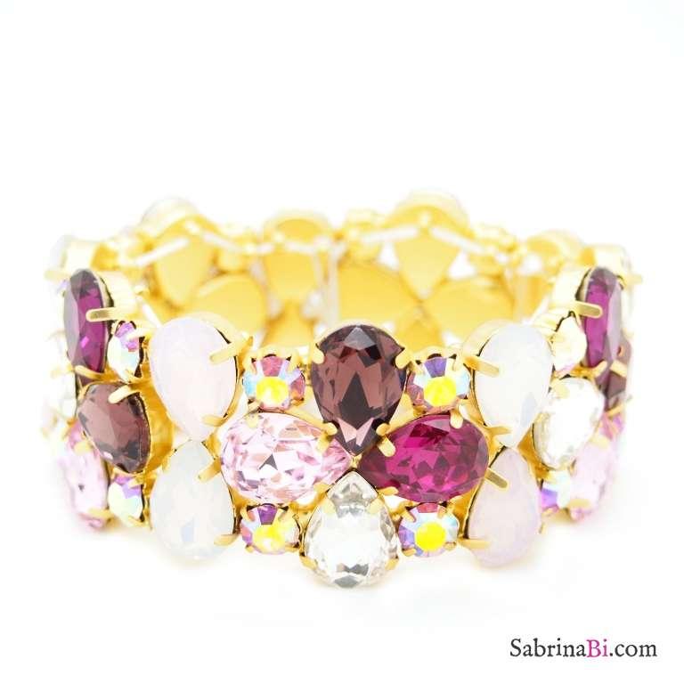 Bracciale elastico con cristalli Swarovski rosa e bordeaux