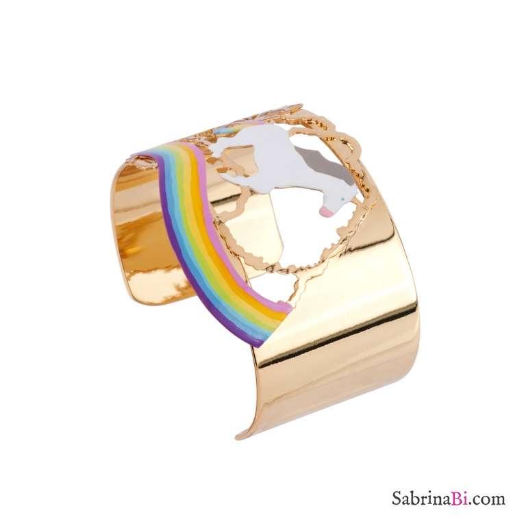 Bracciale rigido bangle Unicorno sull'arcobaleno