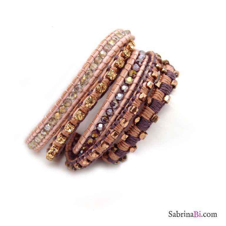 Bracciale unisex multigiro wrap pelle rosa e cristalli e pietre dorati