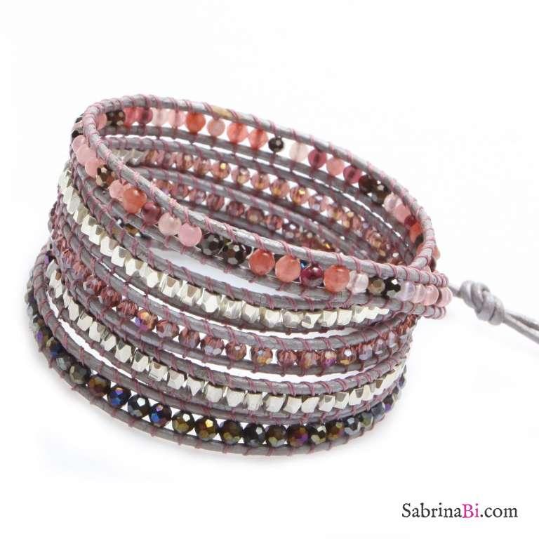 Bracciale unisex multigiro wrap pelle rosa, pietre dure e cristalli rosa scuro
